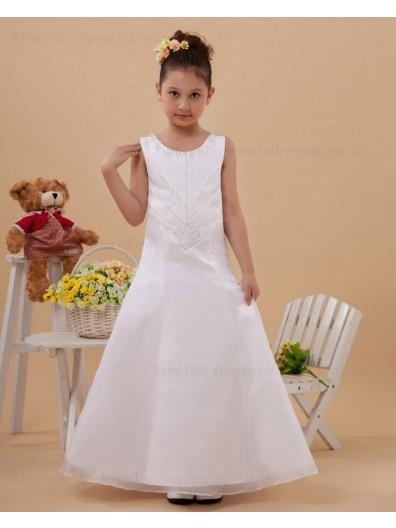 Floor length Beading A line Sleeveless Zipper Scoop Satin Ivory Flower Girl Dress