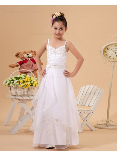A line Organza/Taffeta V neck/Spaghetti Straps White Applique Floor length Zipper Sleeveless Flower Girl Dress