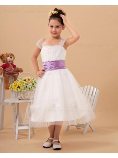 Tea Length Belt A line Bateau Organza Sleeveless White Zipper Flower Girl Dress
