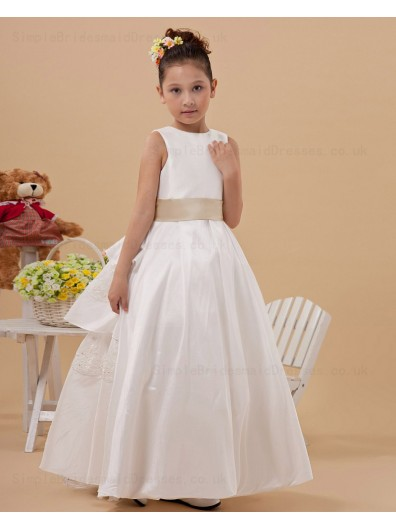 A line Ankle Length Belt Satin Lace Up White Sleeveless Scoop Flower Girl Dress