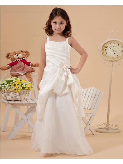 Floor length Zipper Applique/Hand Made Flower/Beading Satin/Tulle A line Sleeveless Bateau/Spaghetti Straps White Flower Girl Dress