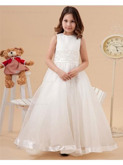 Ivory Zipper Floor length Sleeveless Organza/Satin Scoop A line Belt/Applique Flower Girl Dress