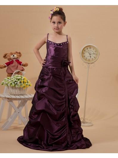 Floor length Hand Made Flower Grape Sleeveless Spaghetti Straps A line Zipper Taffeta Flower Girl Dress