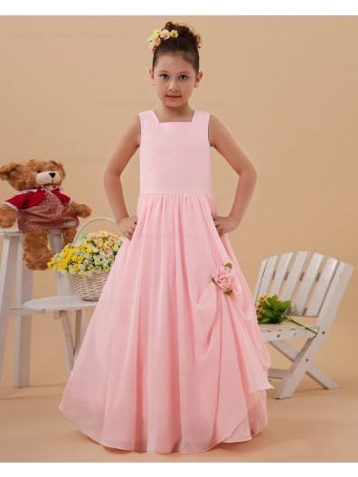 A line Spaghetti Straps Pink Floor length Sleeveless Taffeta Zipper Ruffle/Hand Made Flower Flower Girl Dress