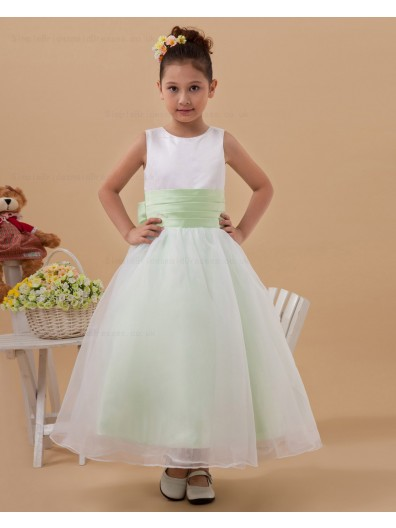 Bow White/Green A line Floor length Scoop Sleeveless Taffeta/Organza Zipper Flower Girl Dress