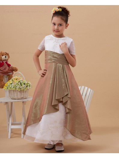 Short Scoop A line Embroidery/Beading Gold/White Taffeta/Organza Floor length Sleeve Zipper Flower Girl Dress