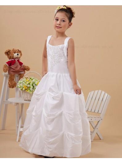 A line Zipper Ivory Beading/Applique Floor length Square Sleeveless Taffeta Flower Girl Dress