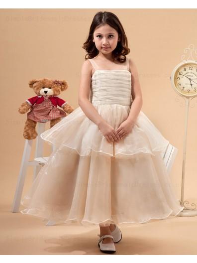 A line Spaghetti Straps Sleeveless Champagne Zipper Bow/Ruffles Tulle Ankle Length Flower Girl Dress
