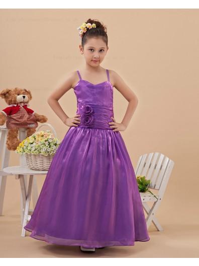 Taffeta Purple Ruffles/Beading/Hand Made Flower Zipper A line Floor length Sleeveless Spaghetti Straps Flower Girl Dress