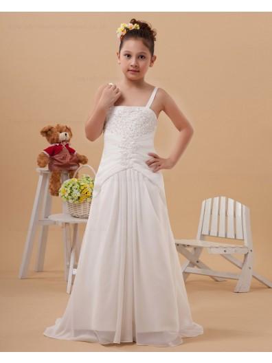 Zipper White Floor length Column/Sheath Spaghetti Straps Sleeveless Satin Embroidery Flower Girl Dress