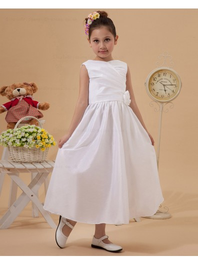 A line Zipper Hand Made Flower Ivory Scoop Ankle Length Sleeveless Taffeta Flower Girl Dress