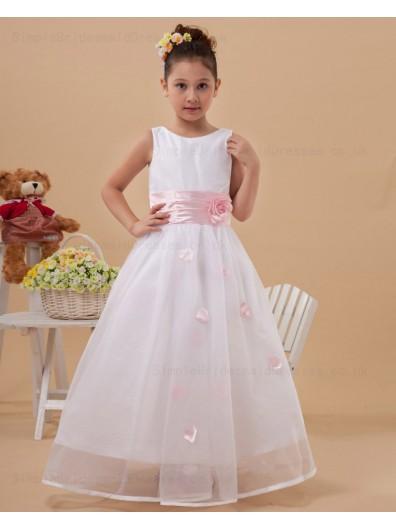 Hand Made Flower/ Ball Gown Zipper White/Pink Belt Scoop Floor length Sleeveless Taffeta/Organza Flower Girl Dress
