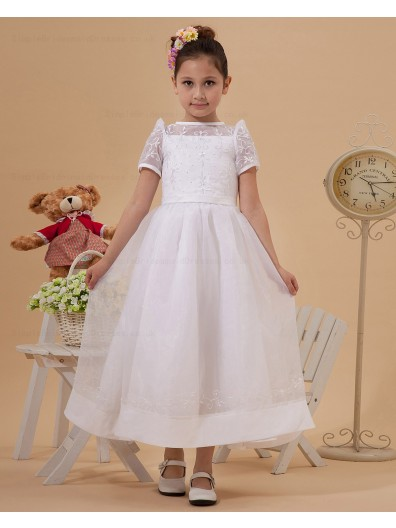 Ankle Length Zipper Sleeve Short Embroidery/Bow/Belt A line Ivory Scoop Taffeta/Satin Flower Girl Dress