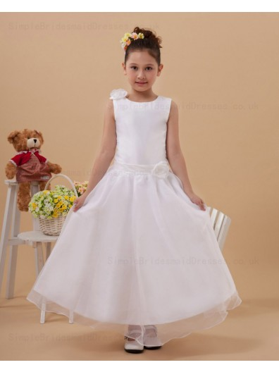 White Zipper Scoop Ankle Length Satin/Organza Sleeveless Belt Ball Gown Hand Made Flower/ Flower Girl Dress