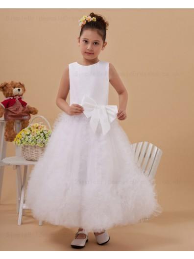 Zipper A line White Sleeveless Hand Made Flower Satin/Tulle Scoop Floor length Flower Girl Dress