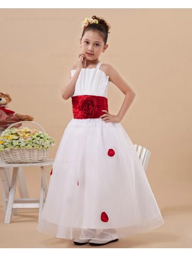 Ivory Floor length Ball Gown Satin/Organza Bow/Hand Made Flower/Sash/Ruffles Sleeveless Zipper Spaghetti Straps Flower Girl Dress