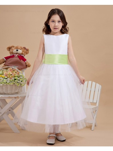 Hand Made Flower/ Zipper Sleeveless Bow/Belt Satin/Organza Ivory Bateau Ankle Length A line Flower Girl Dress