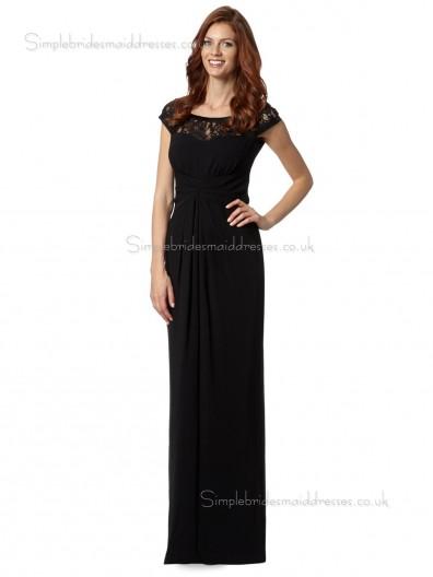 Black Bateau Draped Floor-length Chiffon Natural Column / Sheath Zipper Cap Sleeve Mother of the Bride Dress