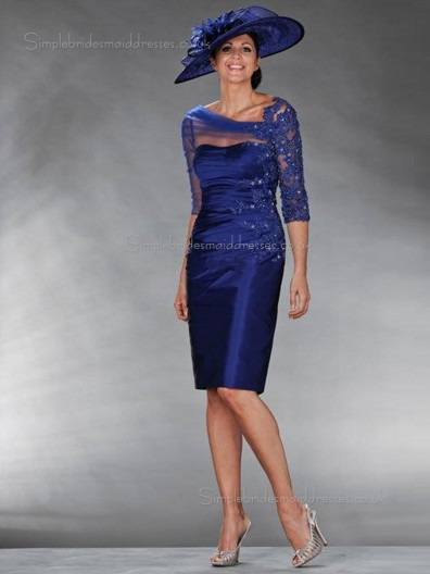 Royal Blue Satin Natural Column / Sheath Half-Sleeve Applique Zipper Sweetheart Knee-length Mother of the Bride Dress