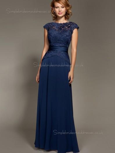Dark Navy Bateau Short Sleeve Natural Applique Zipper A-line Chiffon Floor-length Mother of the Bride Dress