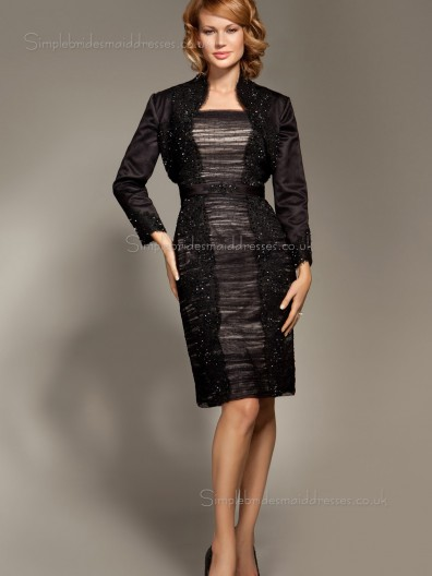 Black Knee-length Long-Sleeve Tulle Empire Column / Sheath Zipper Crystal Bateau Mother of the Bride Dress