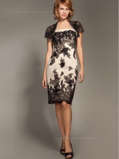 Black Natural Satin Bateau Knee-length Column / Sheath Cap Sleeve Zipper Applique Mother of the Bride Dress