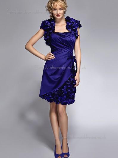 Royal Blue Empire Cap Sleeve Satin Bateau Knee-length Zipper A-line Flowers Mother of the Bride Dress