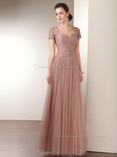 Tulle Natural Zipper Applique Cap Sleeve Floor-length A-line Sweetheart Mother of the Bride Dress