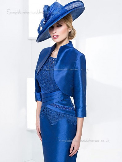 Royal Blue Knee-length Applique Natural Bateau Half-Sleeve Zipper Satin Column / Sheath Mother of the Bride Dress
