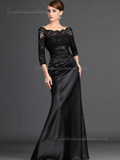 Black Satin Zipper Empire Bateau Ruffles Half-Sleeve Mermaid Floor-length Mother of the Bride Dress
