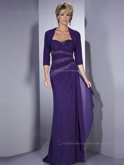 Regency Column / Sheath Chiffon Natural Half-Sleeve Zipper Beading Floor-length Sweetheart Mother of the Bride Dress