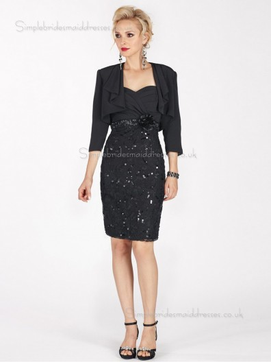 Black Column / Sheath Zipper Satin Sweetheart Knee-length Half-Sleeve Empire Sequin Mother of the Bride Dress