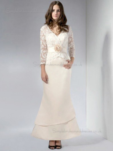 Pink Long-Sleeve Mermaid Empire Satin Zipper Floor-length Lace V-neck Mother of the Bride Dress