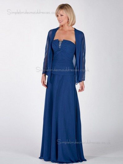 Blue Chiffon Long-Sleeve A-line Beading Natural Floor-length Backless Mother of the Bride Dress