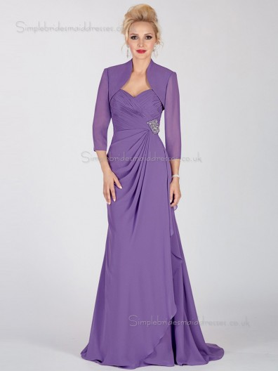 Lilac Backless A-line Natural Sweep Chiffon Sweetheart Half-Sleeve Ruched Mother of the Bride Dress