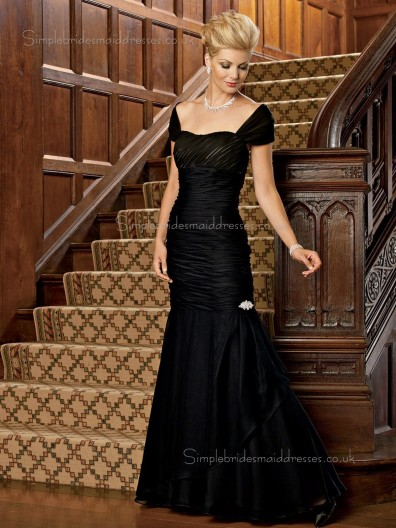 Black Floor-length Cap Sleeve Natural Sweetheart Ruched Mermaid Satin Zipper Mother of the Bride Dress