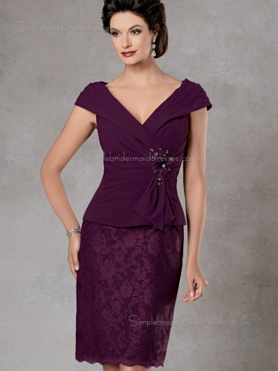 Burgundy V-neck Knee-length Column / Sheath Satin Cap Sleeve Applique Zipper Empire Mother of the Bride Dress
