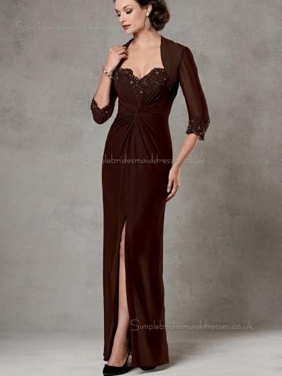 Brown V-neck Floor-length Zipper Column / Sheath Chiffon Beading Half-Sleeve Empire Mother of the Bride Dress