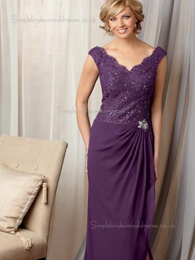Lilac Column / Sheath V-neck Lace Zipper Cap Sleeve Natural Chiffon Floor-length Mother of the Bride Dress