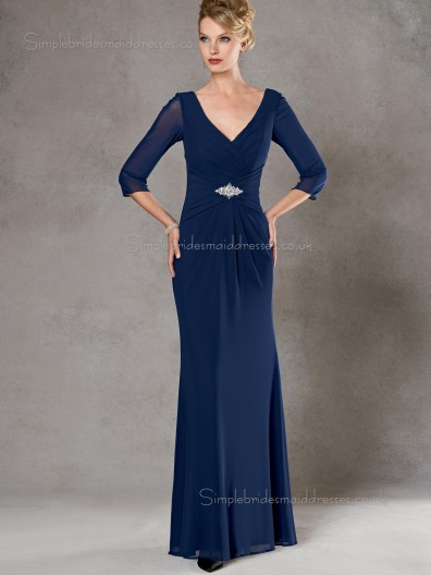 Ink Blue Backless Natural Beading Column / Sheath Chiffon Floor-length V-neck Half-Sleeve Mother of the Bride Dress