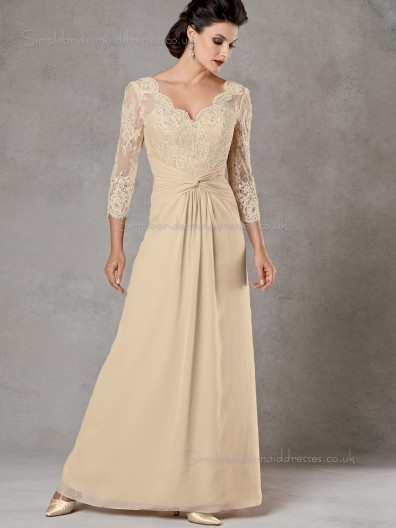 Champagne Chiffon Sleeve Long A-line Zipper Floor-length V-neck Lace Empire Mother of the Bride Dress