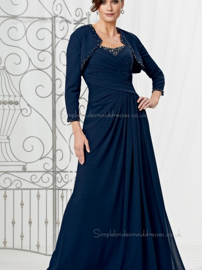 Ink Blue Sleeve Beading Chiffon A-line Zipper Natural Sweetheart Floor-length Long Mother of the Bride Dress