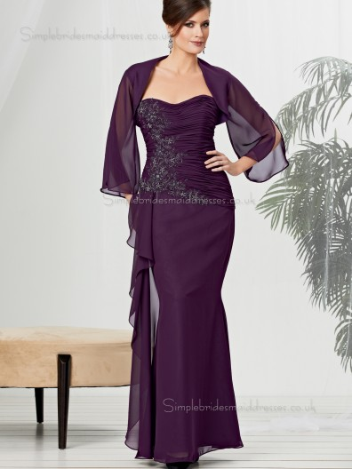 Burgundy Sleeve Applique Zipper Sweetheart Long Chiffon Floor-length Natural Mermaid Mother of the Bride Dress