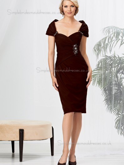 Grape Zipper Natural Cap Sleeve Column / Sheath Knee-length Beading Sweetheart Chiffon Mother of the Bride Dress