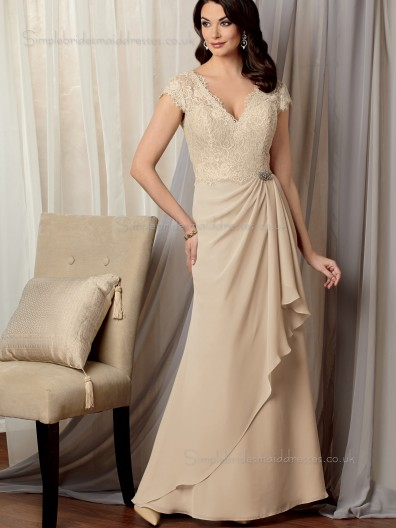 Champagne V-neck Natural Zipper Lace A-line Floor-length Chiffon Cap Sleeve Mother of the Bride Dress