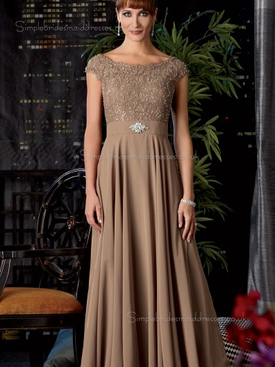 Champagne Natural Backless Floor-length Satin Bateau Cap Sleeve A-line Applique Mother of the Bride Dress