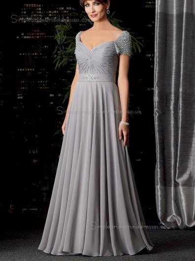 Lavender Natural Cap Sleeve A-line Floor-length Zipper Sweetheart Beading Chiffon Mother of the Bride Dress