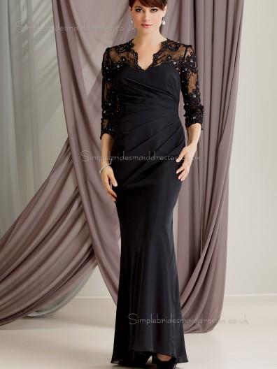 Black Zipper V-neck Chiffon Long Applique Column / Sheath Floor-length Sleeve Natural Mother of the Bride Dress