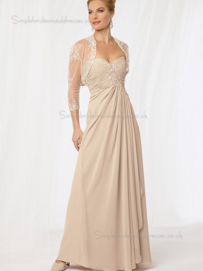 Champagne Floor-length Chiffon Empire Zipper Sweetheart Applique Sleeveless A-line Mother of the Bride Dress