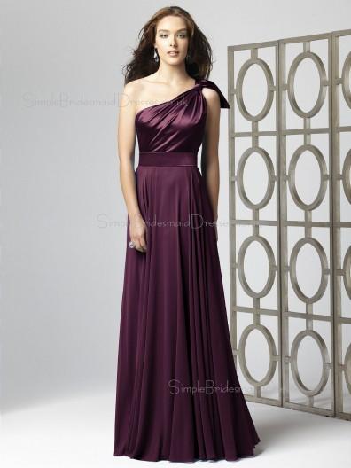 Natural Sleeveless A-line Sash-Ruched-Ruffles Chiffon One-Shoulder Floor-length Grape Bridesmaid Dress